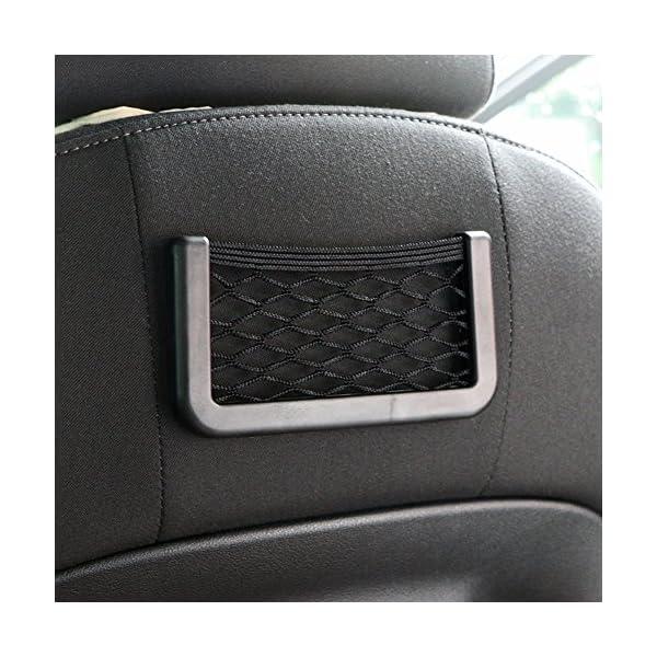 BRLIGE Car Seat Side Back Storage Net Bag Phone Holder Pocket Car Mesh Sundries Storage Box 4