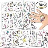 Funnyshow Funnyshow Einhorn Tattoos Set Wasserdicht, Einhorn & Regenbogen temporäre Tattoos Kinder Aufkleber Sticker für Mädchen Kindergeburtstag Mitgebsel Einhorn Party (25 Blatt)