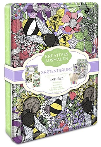 Kreatives ausmalen - Gartenträume: Box mit Malblock, Malbuch, Malposter & 8 Buntstiften