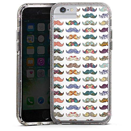 Apple iPhone 6s Bumper Hülle Bumper Case Glitzer Hülle Schnurrbart Moustache Hipster Bumper Case Glitzer rose gold
