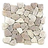 Divero 11 Matten 30 x 30cm Flusskiesel Flussstein Naturstein-Mosaik Fliesen für Wand Boden creme