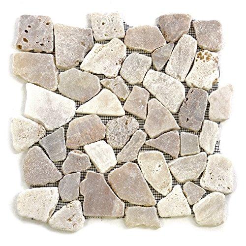 Divero 11 Fliesenmatten Naturstein Mosaik Marmor für Wand und Boden creme á 32 x 32 cm