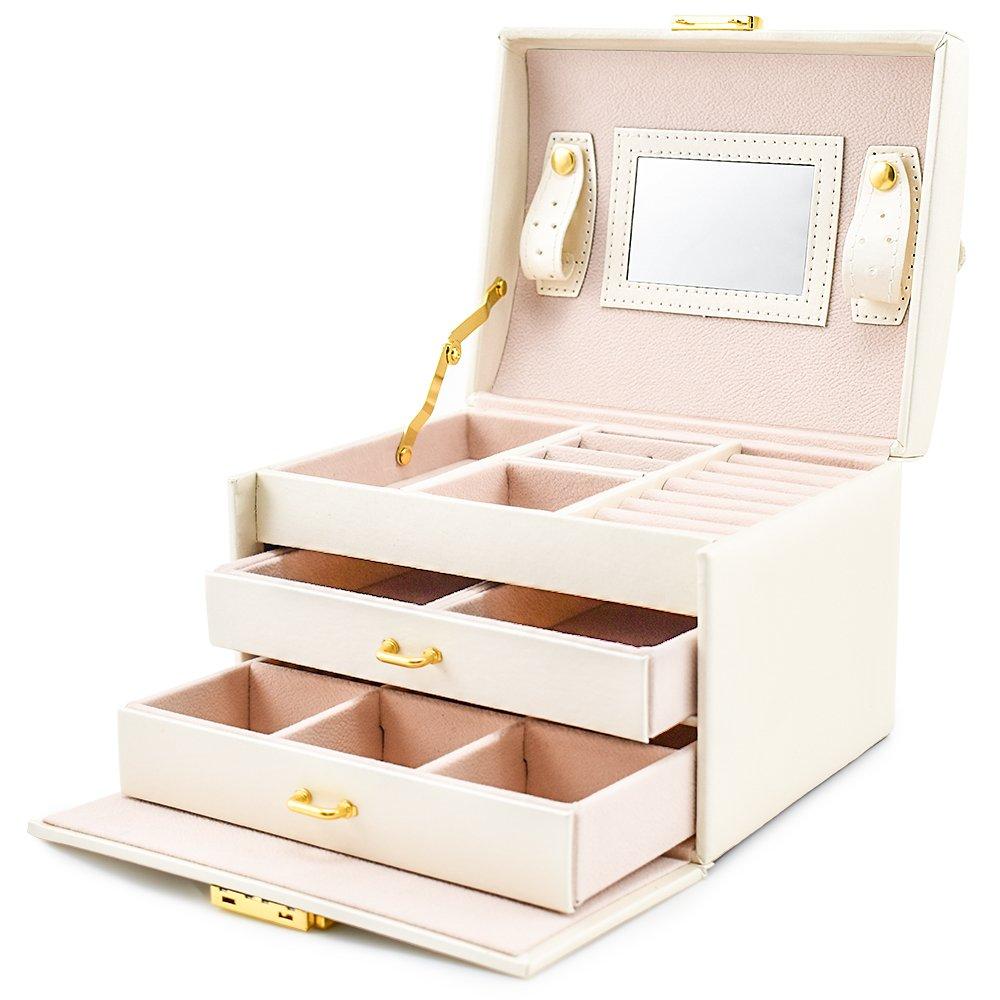 BalladHome Caja Joyero con Espejo Caja para Joyas joyero Caja de Joyas Organizador de Joyas, Caja de Relojes Caja para Relojes