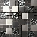 Lot de 3Hong Kong Noir/Argent 30x 30cm en verre + Acier inoxydable brossé mosaïque Mélange de Feuilles (Noir)
