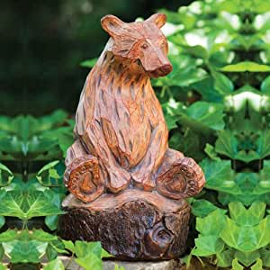 Forest Friend Wood Carved Sitting Bear Statue