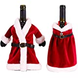 Xiuyer 2pcs Copri Bottiglia Vino Natale Materiale Velluto Copertura Natale Decorazione Della Bottiglia Rosso per Natale Festa