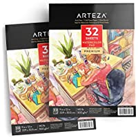 Cuadernos para pintar acuarelas - Pack de dos cuadernos con papel de acuarela Arteza, 64 hojas en total, papel de 300 gramos prensado en frío, color blanco, sin ácido, perfecto para pinturas de agua, medios secos y técnicas mixtas