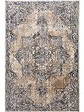 Benuta Teppich Yara Beige/Blau 240x330 cm - Vintage Teppich im Used-Look