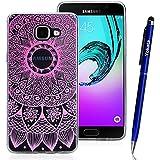 Samsung Galaxy A5 / 2016 Coque, Yokata TPU Silicone Transparente Cover Gradient Mandala Case Housse Flexible Soft Doux Ultra Mince Étui + 1*Stylus