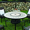 Kingfisher Pitset1 Fire Pit Dining Mosaic Set With 4 Chair And Cushions Garden Furniture Patio Set by King Fisher