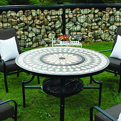 Kingfisher PITSET1 Fire Pit Dining Mosaic Set with 4 Chair and Cushions Garden Furniture Patio Set