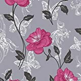 Pink / Charcoal - M0877 - Millie - Floral - Butterfly - Damask - Crown Wallpaper