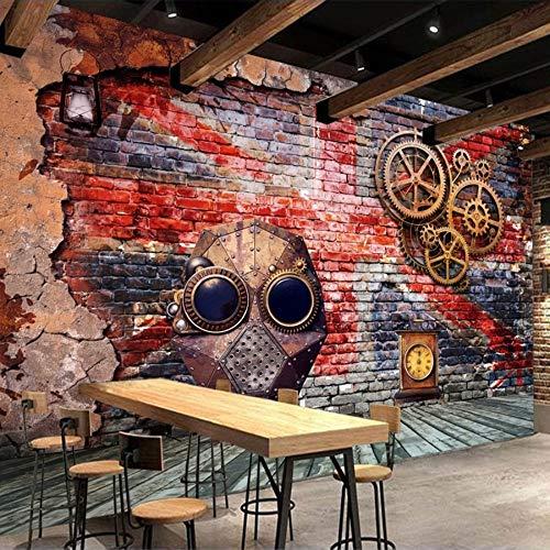 Fototapete Wandbild Wandbilder Wohnzimmer Fernseher Sofa Hintergrund Tapete Moderne Wohnkultur Zimmer Graffiti-Kunst-Stange Der Retro- Nostalgie-3D Im Europäischen Stil 300Cm X 210Cm -