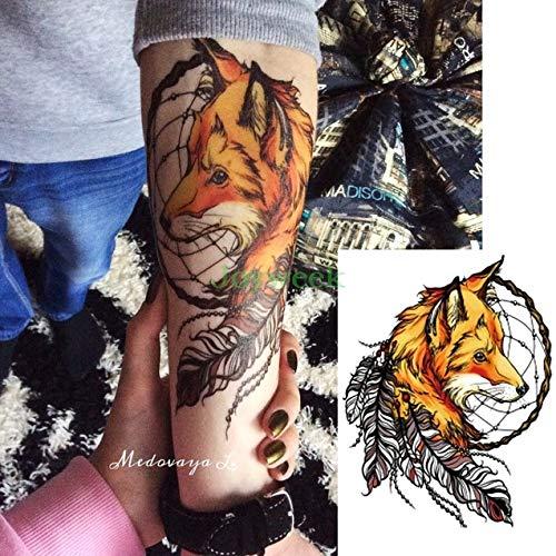 3 Piezas Etiqueta engomada del Tatuaje a Prueba de Agua Gran atrapasueños Lobo Lobo Tatuaje Tatuaje Tatuaje Masculino y Femenino