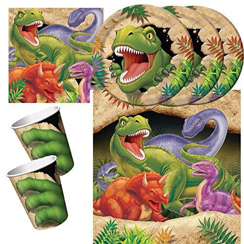 33-teiliges Party-Set Dinosaurier - Dino - Alarm - Teller Becher Servietten Tischdecke für 8 Kinder (Dinosaurier Party Servietten)