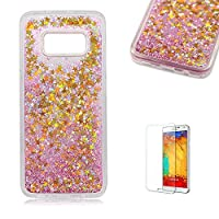 For Samsung Galaxy S8 Case,Funyye 3D Creative Floating Water Liquid Small Love Hearts Design Luxury Sparkly Bling Glitter Protective Case for Samsung Galaxy S8-Gold