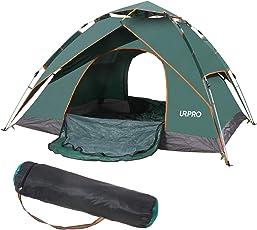 Urpro Familienzelt für 3 bis 4 Personen, automatisches Pop-Up-Zelt hat zwei Verwendungsmöglichkeiten, doppelte Schichten, wasserdicht, winddicht, mit Tragetasche, perfekt für Strand, Outdoor, Reisen, Wandern, Camping, Jagd, Angeln, etc. (240 cm x 210 cm x 135 cm)