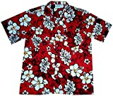 "Hawaiihemd / Hawaiishirt ""Classic Flowers (red)"", 100% Baumwolle, Größe L"