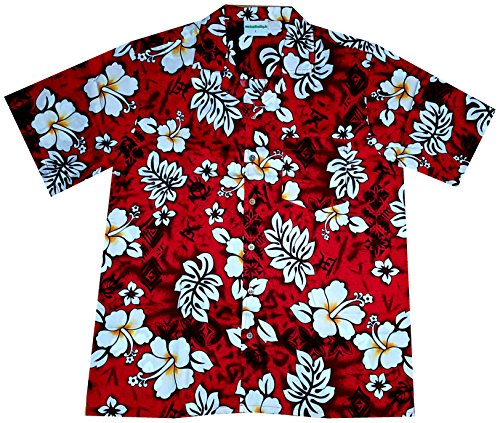 "Hawaiihemd / Hawaiishirt ""Classic Flowers (red)"", 100% Baumwolle, Größe 3XL - Groß, Groß, Hawaii-hemden"