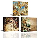 Piy Painting 3 Teilig Wandbild Leinwanddrucke Retro Fotos Dekoration Bilder, Bild Bilder auf Leinwand, Wandbild Kunstdruck Fotoleinwand Leinwand Wanddeko für Küche Schlafzimmer Geburtstagsgeschenk