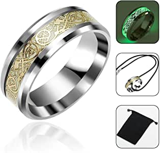 luminoso Kobwa Anello a fascetta con dragone celtico dorato in titanio fede regalo per uomo e donna anello di fidanzamento