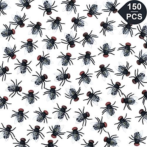 Plastik Fliegen Halloween Streich Ffliegt Käfer Gefälschte Insekten Fliegen Spielzeug Streich Witz Spielzeug für Party Lieferungen Requisiten(150 Stücke)