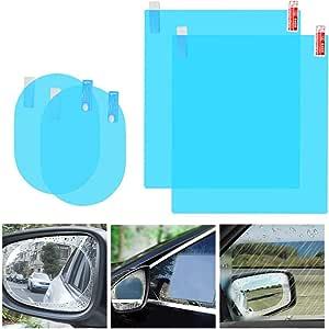 4 X Auto Rückspiegel Folie Auto Seitenspiegel Hd Nano Folie Anti Beschlag Regendicht Wasserdicht Spiegel Fensterfolie Klare Schutzfolie Aufkleber Für Autospiegel Und Seitenfenster Navigation