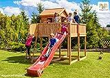 Spielhaus MYSPACE XL aus Holz Kinderspielhaus Gartenhaus Kletterturm Rutsche