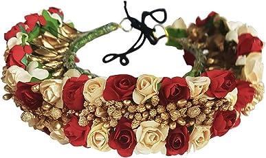 Kabello Girl's Juda Bun Decoration Hair Gajra for Bridal Accessories (Red White/Cream, HGSSQW25) - GF0006RW