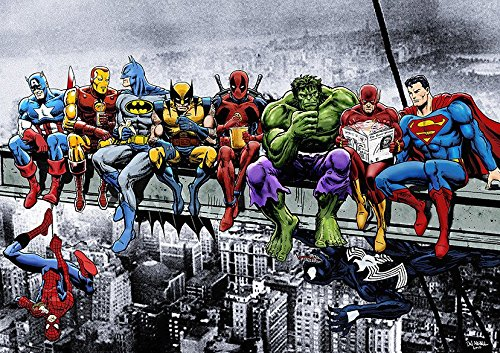 Dynamo Printing Ltd Marvel DC Comic Superhelden Girder Lunch ATOP Skyscraper Poster (A1(841x 594mm))