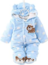 Pormow Herbst-Winter Verdickte Warm Unisex Baby Overall Cartoon Coral Fleece Kinderkleidung