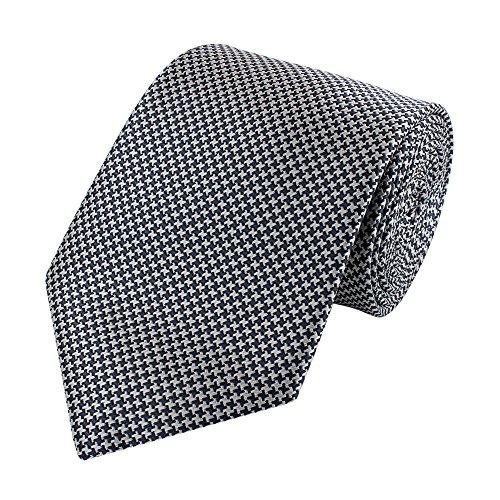 Fabio Farini elegante 8 cm Krawatte, grau-weiß gemustert, Buisness, Anzug-Krawatte