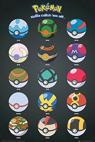 Pokemon-Pokémon Poster Poke Balls + accessori, Cartone, multicolore, 61x2x2 cm