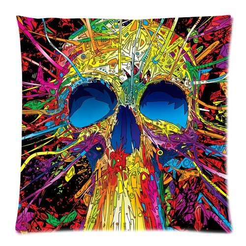 ivid Skull Graffiti Lines Custom Throw Pillow Pillowcase DIY Cushion Case Roomy in Size 18 * 18 Inch ()