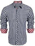 Coofandy Herren Hemd Kariert Cargohemd Trachtenhemd Baumwolle Freizeit Regular Fit (XXL, A-Blau)