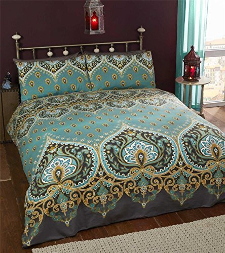 Indisch Henna Stil Grün Blaue Baumwolle Mischung King Size ( Uni Dunkelgrau passendes Leintuch - 152 x 200cm + 25) Uni Dunkelgrau Hausfrau Kopfkissenbezüge 6 Stück Bettwäsche Set (Stück Sechs Bettwäsche-set)
