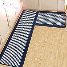 Alfombra de cocina Ustide, cocina alfombra lavable bandera del patrón de la raya de piso de alfombra, esteras de baño lavable antideslizante, absorción de agua jollyflush alfombras (azul oscuro)