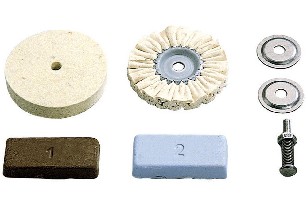 Wolfcraft 2178000 2178000-1 Juego Hobby Metales, plástico, marmol etc. Contenido: Pasta de Pulido, Mandril de sujeción, Fieltro, Disco de Algodon