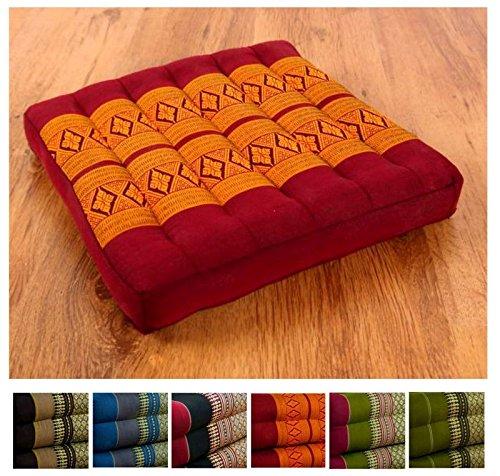 Kapok Sitzkissen 35cmx35cmx6,5cm der Marke Asia Wohnstudio, asiatisches Stuhlkissen, Bodensitzkissen, Gartenstuhlauflage, (rot / gelb)