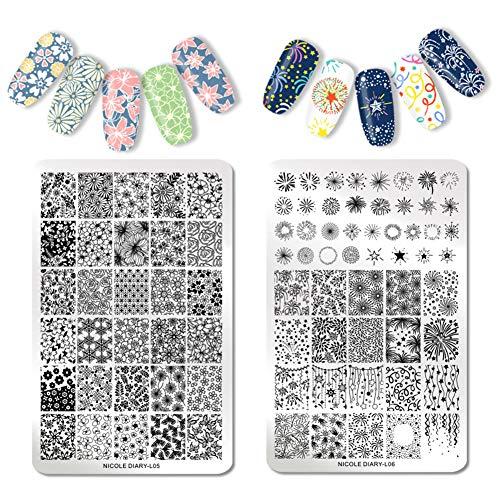 NICOLE DIARY 2 Stücke Stamping Platten XL Nail Stamping Vorlagen Blumen Spitze Zickzackplatte Nageldruck Overprint Design Tool (14,5 cm * 9,5 cm) - Nicole 2 Stück