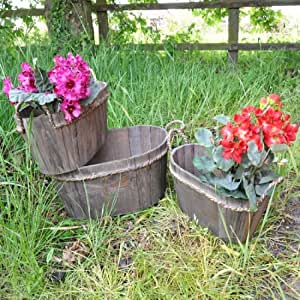Set 3 Wooden Barrel Planters with Rope Handle