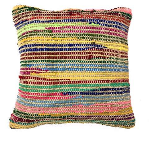 Arco iris algodón de comercio justo y yute Multi Color Funda para cojín 45cm x 45cm,...
