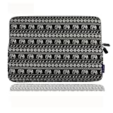 CASETOP Elefant Muster Leinwand Stoff 11 Zoll Laptop Notebook Sleeve für Macbook Pro / Macbook Air Sleeve Hülle Dell / Hp / Lenovo / Sony / Ausa / Acer / Samsung / Ultrabook Tasche Abdeckung ( Schwar)