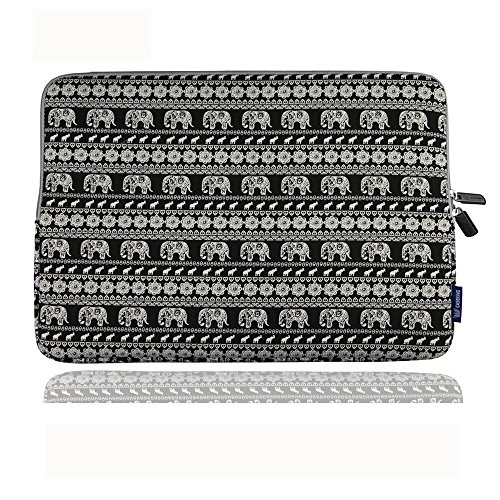 CASETOP Elefant Muster Leinwand Stoff 13 Zoll Laptop Notebook Sleeve für Macbook Pro / Macbook Air Sleeve Hülle Dell / Hp / Lenovo / Sony / Ausa / Acer / Samsung / Ultrabook Tasche Abdeckung ( Schwar)