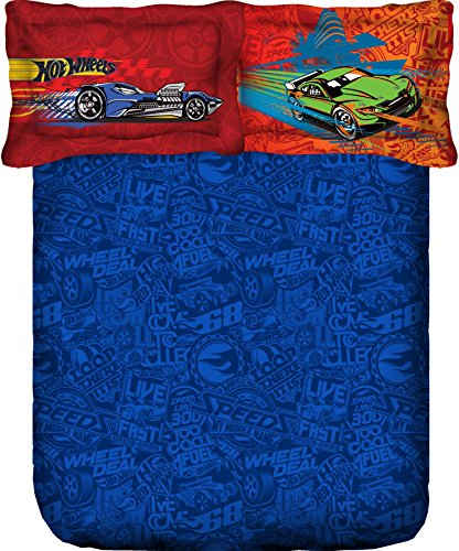 Portico New York Hot Wheel Character Satin Cotton Double Bed Linen with 2 Pillow Covers - King Size, Multicolor (107029570341)