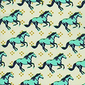 HORSE Fabric CS023 - Mustang Collection by Melody Miller for Cotton + Steel - 100% Cotton - 0.5 Metre - Teal Navy Blue Gold Horses on Cream Background Fabric - 100% Cotton by Cotton + Steel