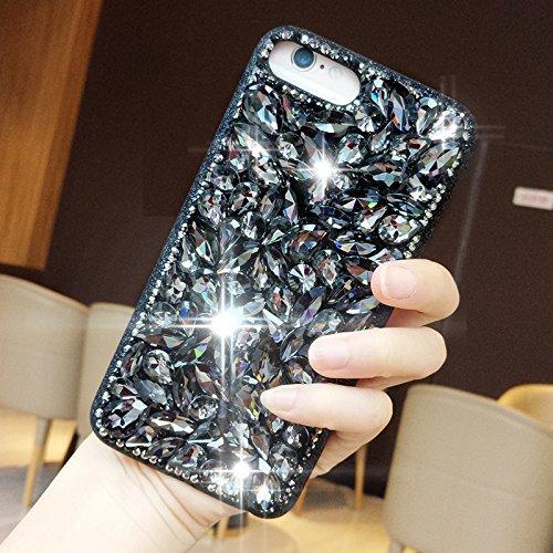 Custodia per iPhone 7 Plus/iPhone 8 Plus (5.5), EUWLY Bling Glitter Strass Silicone Custodia per iPhone 7 Plus/iPhone 8 Plus (5.5), Lusso Brillante Big Diamante Coperture Protettiva TPU Custodia Cas Glitter Strass, Nero
