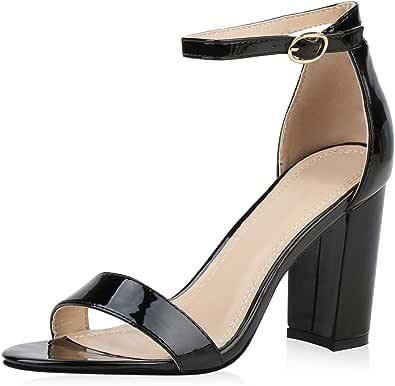 SCARPE VITA Damen Sandaletten High Heels Pumps mit Blockabsatz