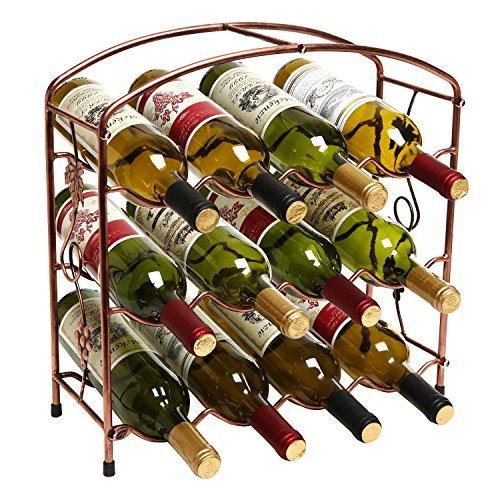 MyGift Modern rustikalem Bronze-Design, freistehend, Metall, 12Flasche Wein Aufbewahrung Rack/3-stöckig Wein Halter Rustic Bronze -