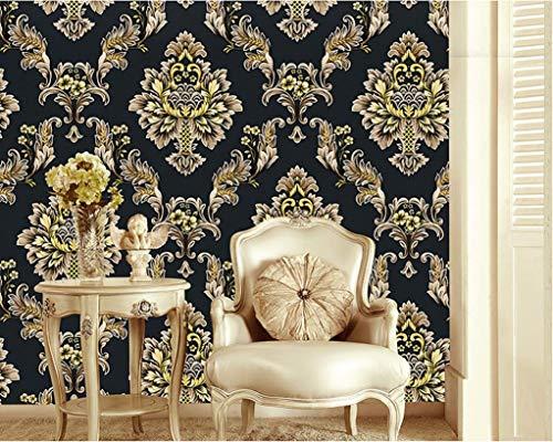 Vliestapete Luxus damast tapete Europäische klassische schwarz/gold geprägte Textur Damaskus wallpaper Home Hotel Wanddekoration 10m × 0,53m